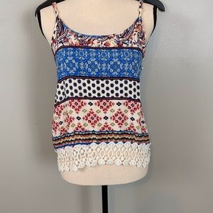 Liberty Love tank top/ embroidered detail/size M